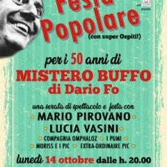 """La Scuola del Milano Clown Festival – insieme a Lucia Vasini e Mario Pirovano – rende omaggio il 14 ottobre a """"Mistero Buffo"""" e Dario Fo con una grande festa popolare"""